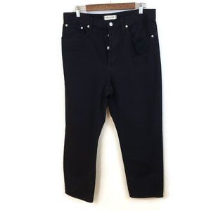 Madewell Womens Black The Dad Denim Jeans Size 31 Button Fly Relaxed Straight